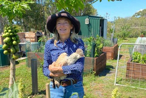 Self portrait with Chicken - Sue Pavasaris