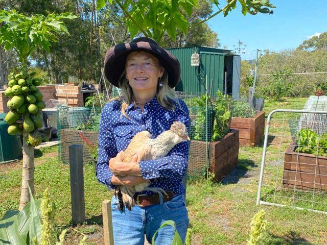 Self portrait with Chicken - Sue Pavasaris