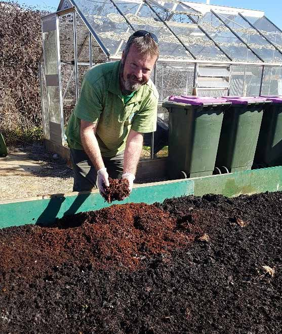 Photo: Cid Riley. Cid Riley's business Global Worming operates large-scale worm farms at many sites including at the Canberra City Farm site on Dairy road